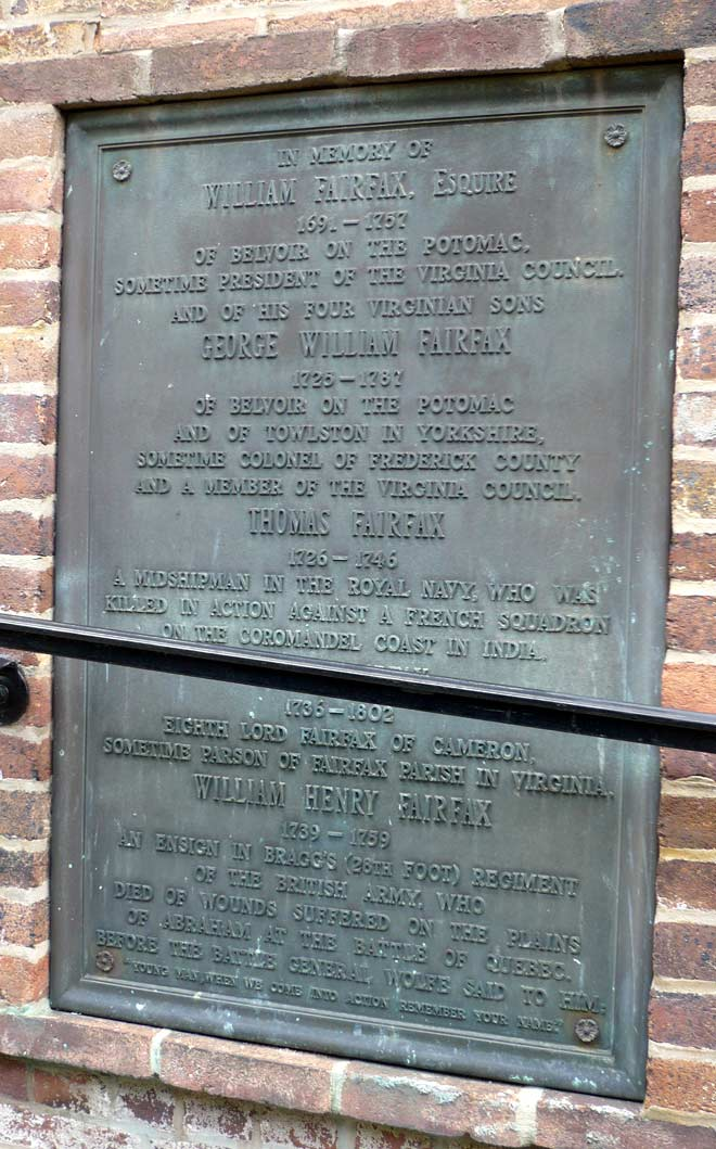 William Fairfax tablet on church wall